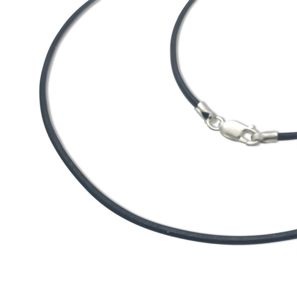 Black leather cord chain for artwork pendant, modern young look for your drawing on silver