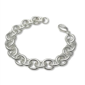 bracelet cable chain heavy, solid sterling silver, perfect chain to collect charms made from your kids art and drawings