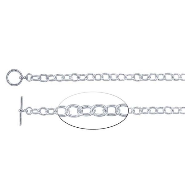 Sterling silver cable chain bracelet fits tiny charms