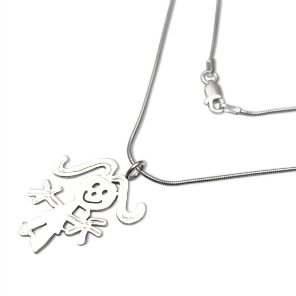 snake chain thin 1mm with pendant cut out in silver sheet by hand after drawing by toddlers and others