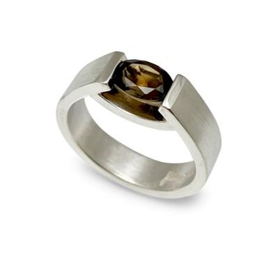 Smokey Quartz smile ring in high quality silver handmade in USA