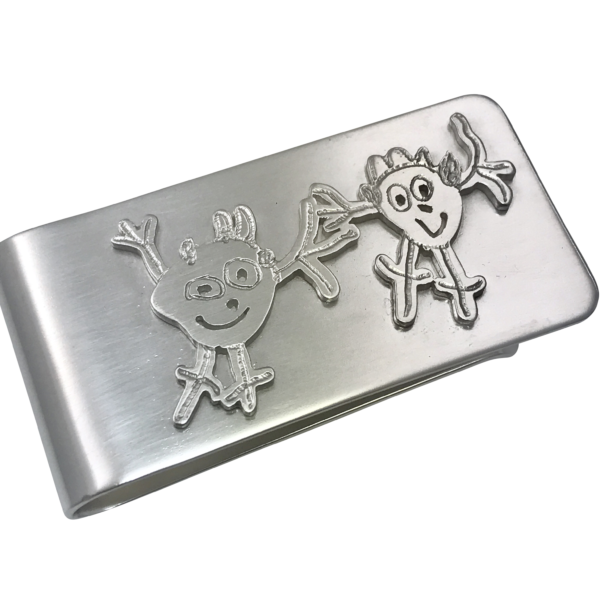 Money clip featuring a replica of your own drawing carefully cut out to save your childrens imagination for eternity