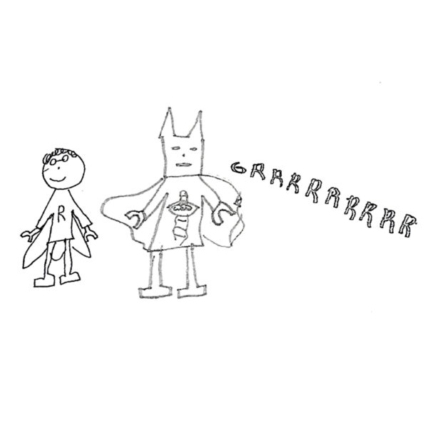 tie clip drawing of super heros for dad