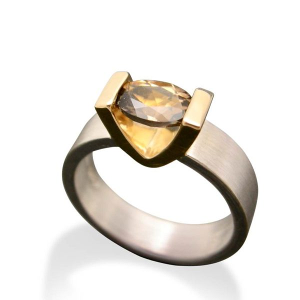 Smokey quartz V setting gold and silver ring modern design with gemstone