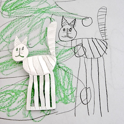 Cat drawing on silver brooch, design your own