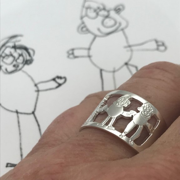 Childs drawing on silver ring for MOM as special gift