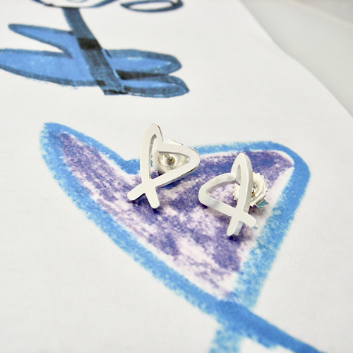 Kids art on earrings, small stud earring in heart shape as gift ideas