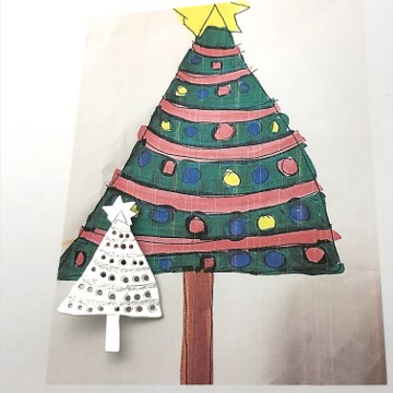 Silver brooch made after drawing of Christmas tree made by a child