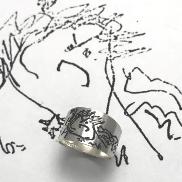 design your own ring, kids drawing engraved on ring