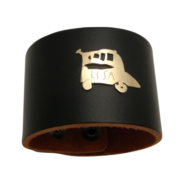 Leather Cuff with Gold Car drawing on bracelet unisex bracelet for cool dads and fathers