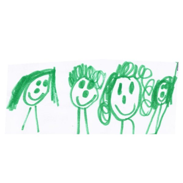 family ring drawing 4 stick figures in green
