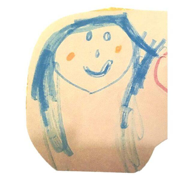 silver stud earrings drawing of girl self portrait as jewelry