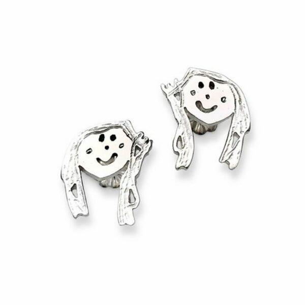 silver stud earrings from art work that kids create