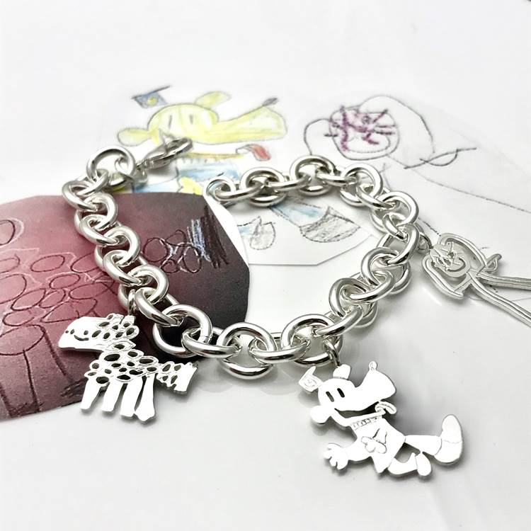 Classic charm bracelet with your own designed charms