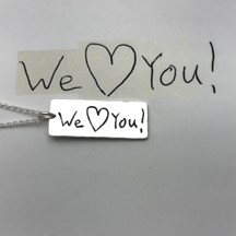 Valentine's day gifts We love you actual handwriting on pendant