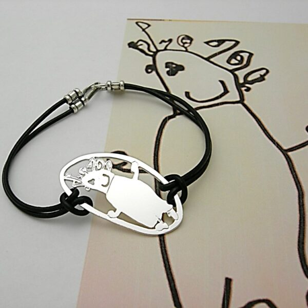 Your own drawing in a young modern style bracelet with leather straps