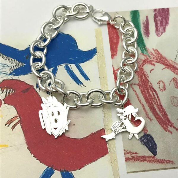 classic charm bracelet from drawings by kids