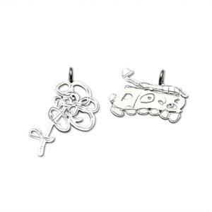 bracelet charm or many charms from artwork train or flower drawn by girls or boys in any age