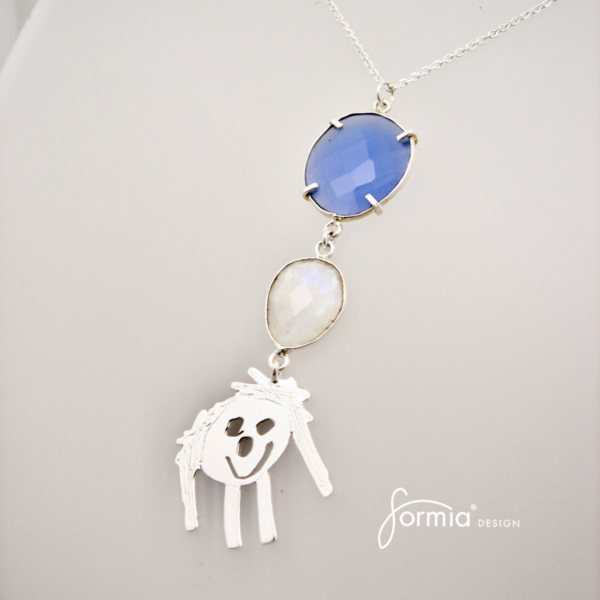 couture necklace two gemstones blue and white