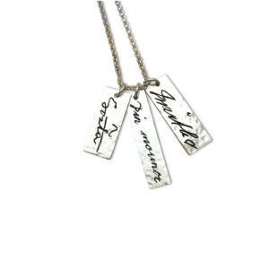 engraved autograph pendant 3 names on 3 pendants actual handwriting of signatures of loved ones copied into silver memorial gift