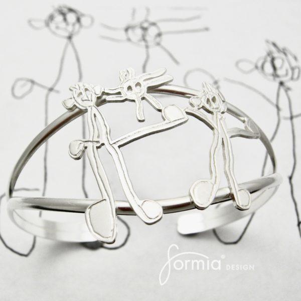stick figures on elegant cuff bracelet