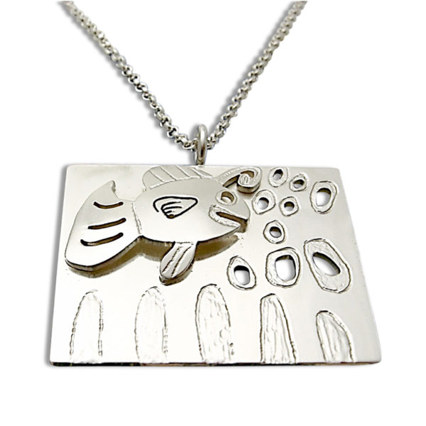 Double layer pendant from artwork by your children custom design and visually enhanced for a 3D look