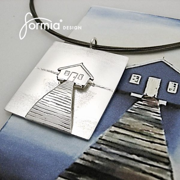 House on water painting as double layer pendant, texture of shadows, adults art can be transformed to jewelry now too