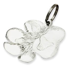 Paw Print key chain in titanium exact copy of your fourleged friends paw print or photo