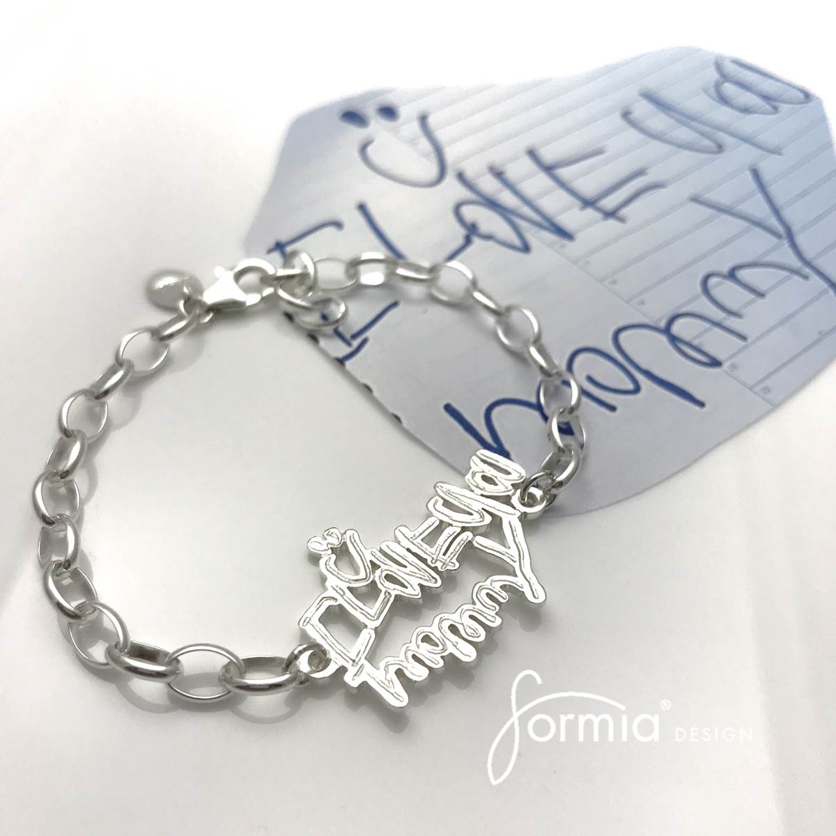 love you mommy sports bracelet with smiley face, personally wirtten note as jewelry Valentine's day gifts