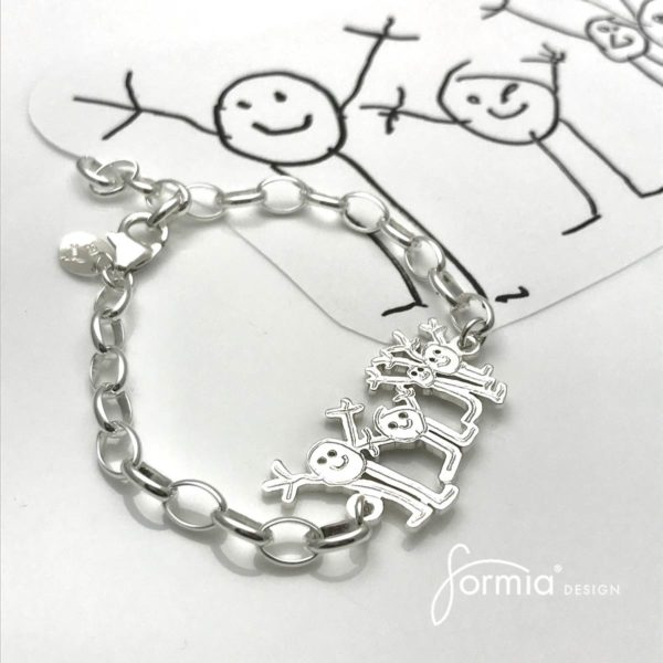 sports bracelet happy family drawing of stick figures on bracelet