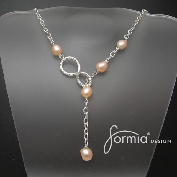 pink spring lariat necklace flattering silver color with a baby pink color for spring