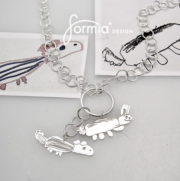 Cluster of charms necklace with kids animal drawings for moms birthday