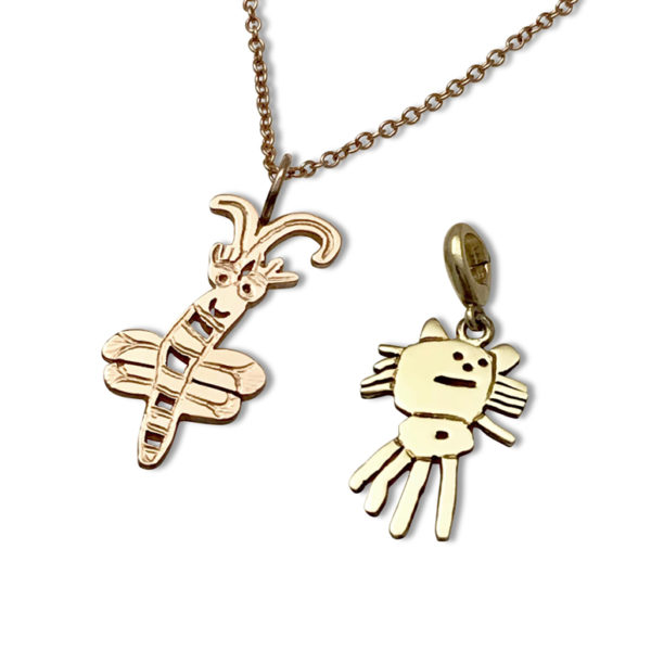 Kids art Gold charm 14k color options rose gold and yellow gold