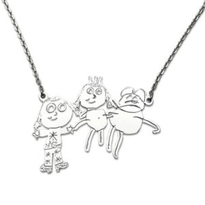 Attached pendant necklace using three kids portraits of family members