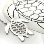 Turtle artwork as attached pendant necklace in sterling silver
