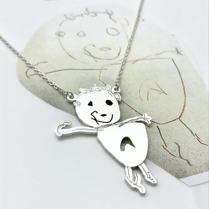 attached pendant necklace one little man portrait toddler art