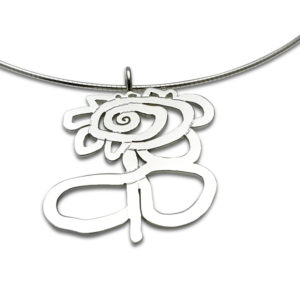 Artwork pendant flower cut out style with presition worn on omega chain,