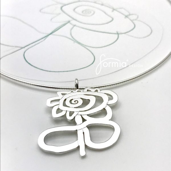 Artwork pendant design of a flower with stem cut out style in sterling silver on a omega chain. your own drawing is accuratly copied