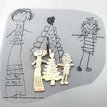 Mom and me at Christmas drawing as Bronze key chain