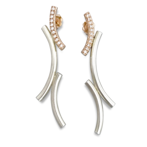 Kurvene diamond earrings rose gold sterling silver and microset diamonds design by mia and Formia Design inspired from the olymics down hill skiing curves in norweigian
