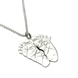 foot print necklace baby foot print necklace, baby feet as a silver necklace