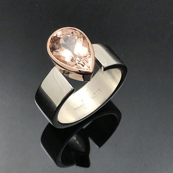 Morganite pear drop cut in rose gold silver ring