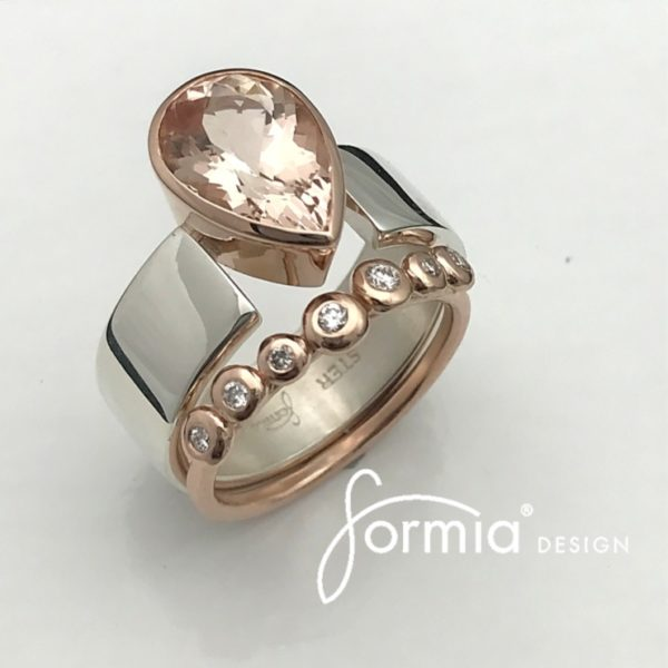 Morganite ring , rose gold and Tavia metals diamond band, exclusive luxury feeling and appearance