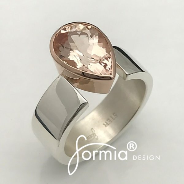 Pear cut Morganite ring silver and rose gold, pink color enhances the fashion of young ladies