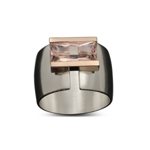 Pink Line Across Ring - Contemporary and edgy wide ring perfectly enhanced with a long narrow pink baguette cut Morganite fits the brave woman with style