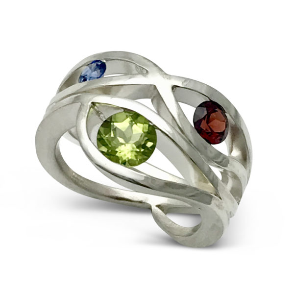 Wave ring design with 3 birthstones sterling silver custom order one for your self now