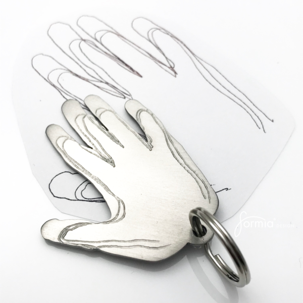 outlined hand prints titanium key chain