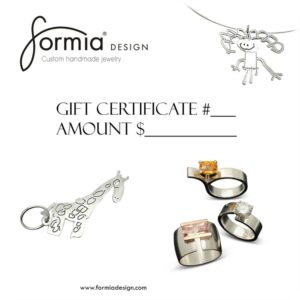 Gift certificate for custom jewelry at Formia Design