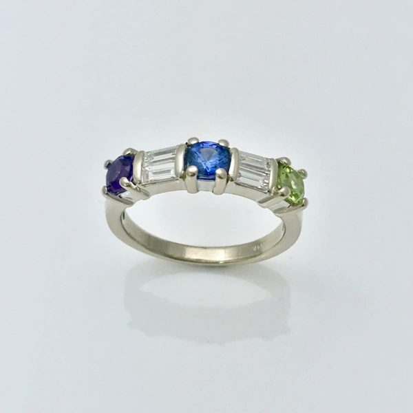 Birthstone and diamond anniversay ring or mom ring for her birthday