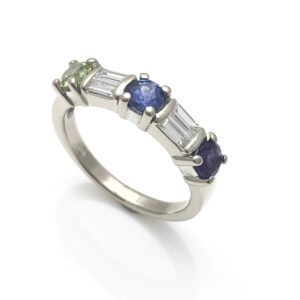 Birthstone diamond anniversary ring, baugette cut diamonds and round birthstones for color
